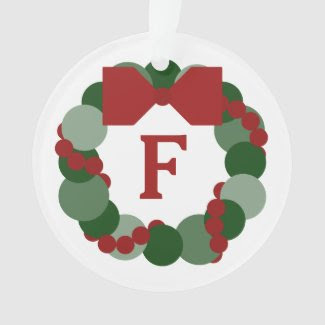 Modern Christmas Wreath with Monogram Ornament