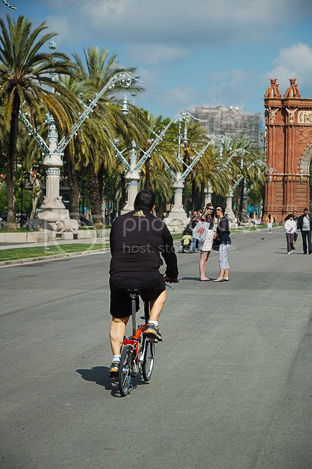 Riding a Bike Near Arc de Triomf, Barcelona [enlarge]