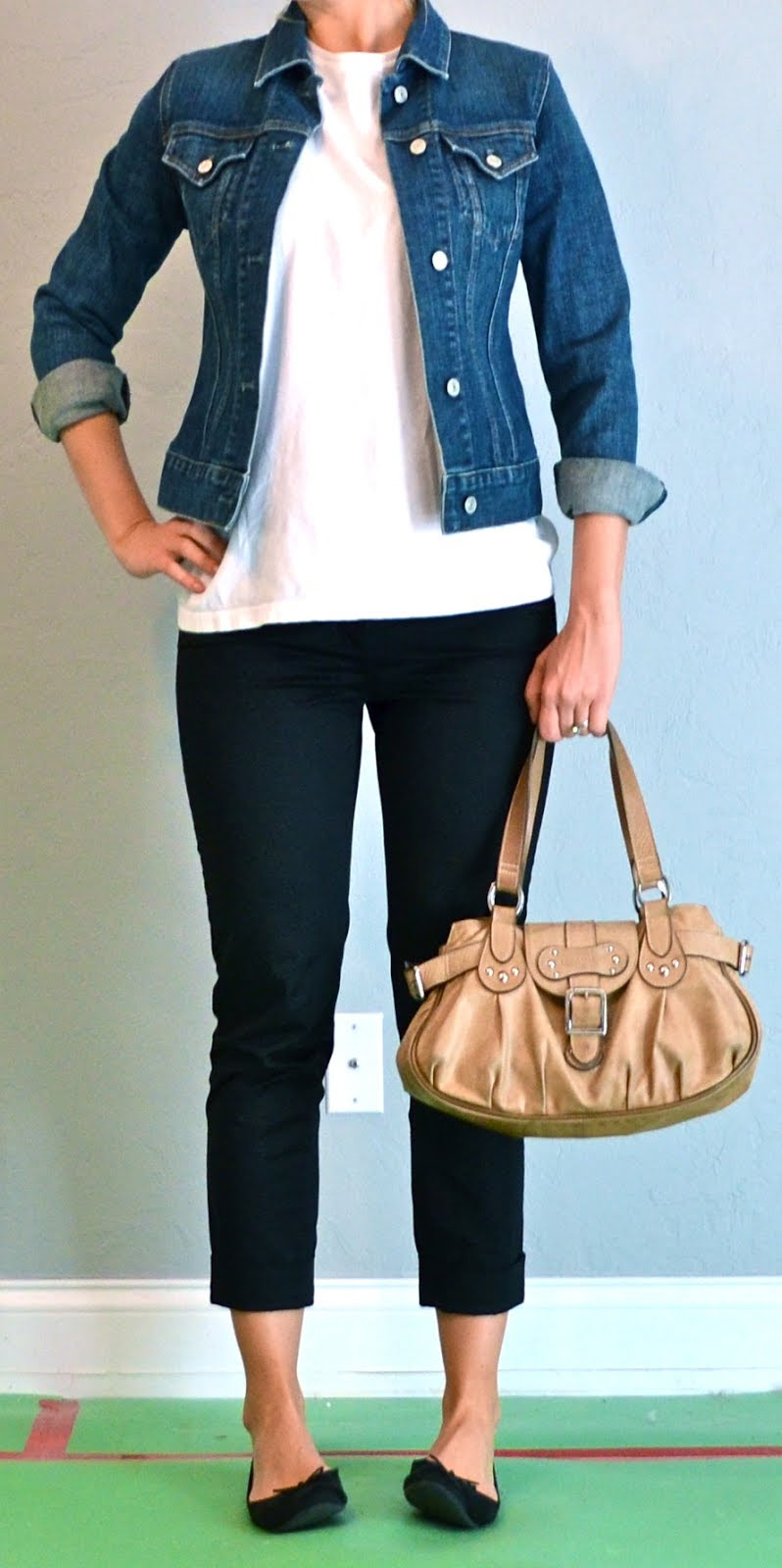 outfit post black cropped pants white shirt jean jacket