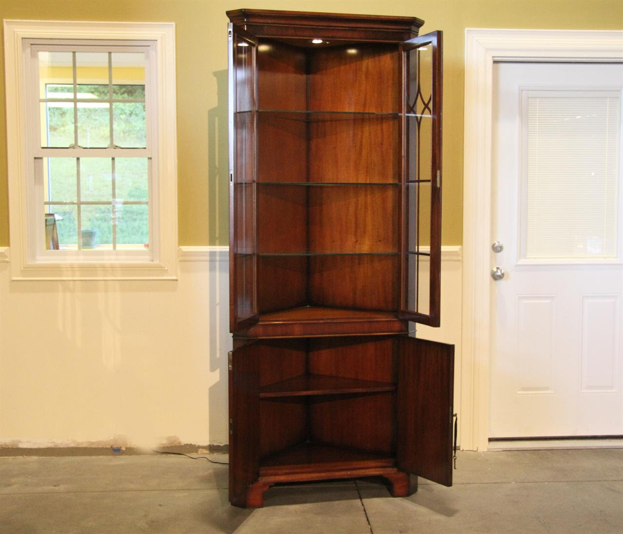 Corner China Cabinet with Glass Shelves and Lighting Kit ...