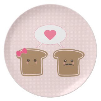 Kawaii Toast Love plate