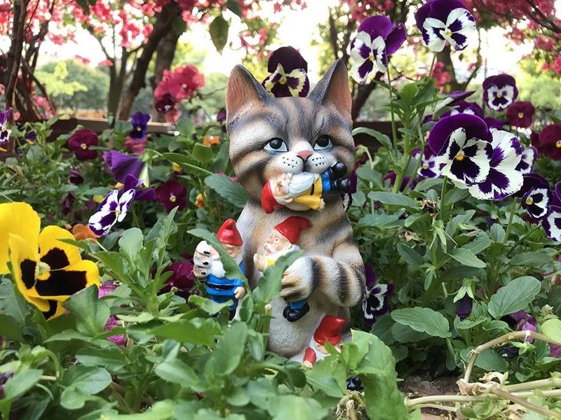 By Mark & Margot - Mischievous Cat Garden Gnome Statue Figurine - Best Art Decor for Indoor Outdoor Home Or Office