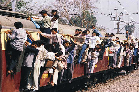 Crowded Mumbai Local Train