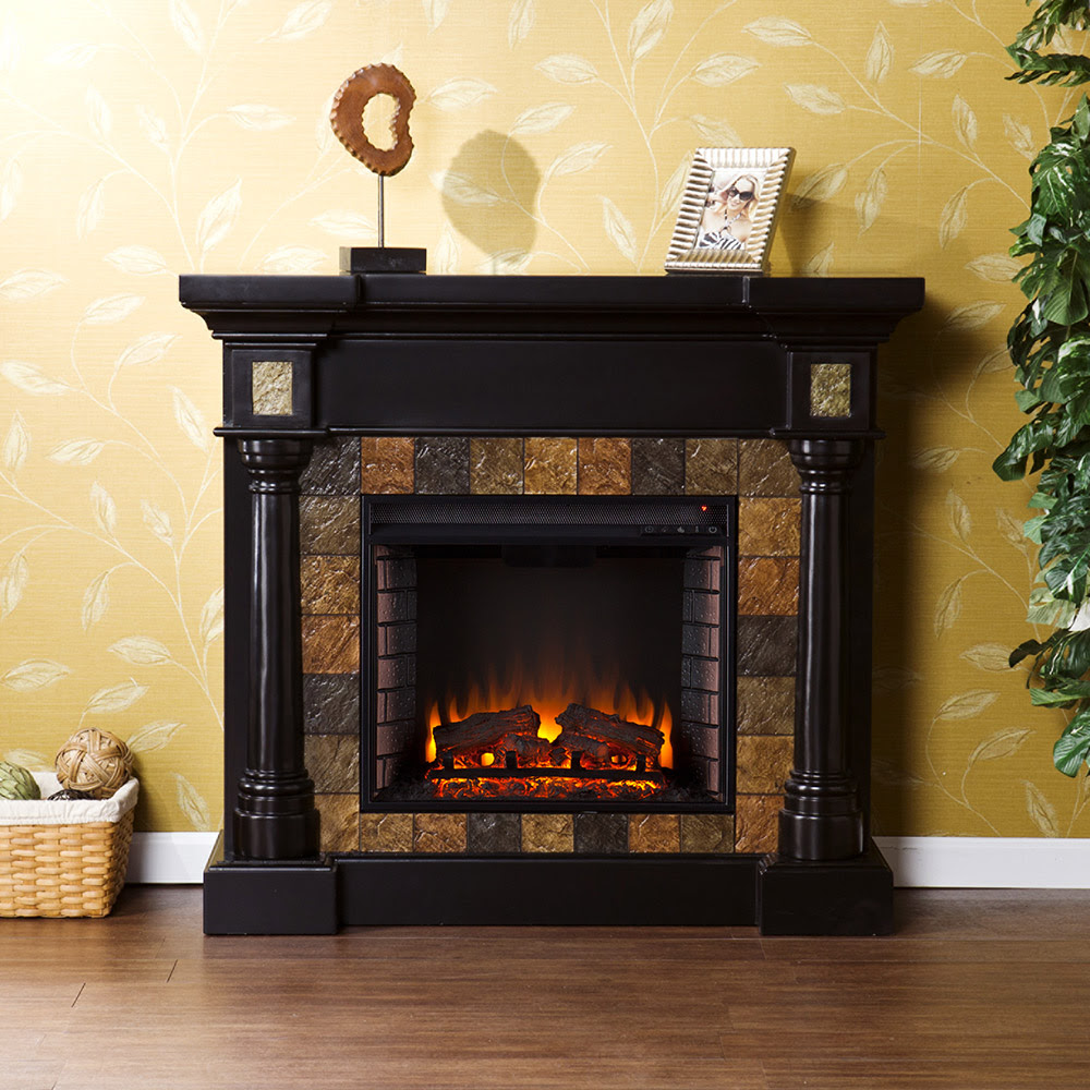 Carrington Wall Or Corner Electric Fireplace Mantel Package In Black