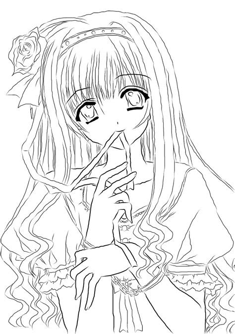 anime girl lineart   nanachandeviantartcom