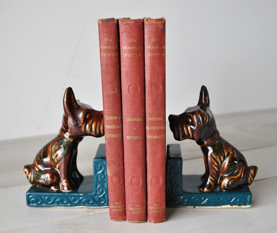 vintage dog book ends