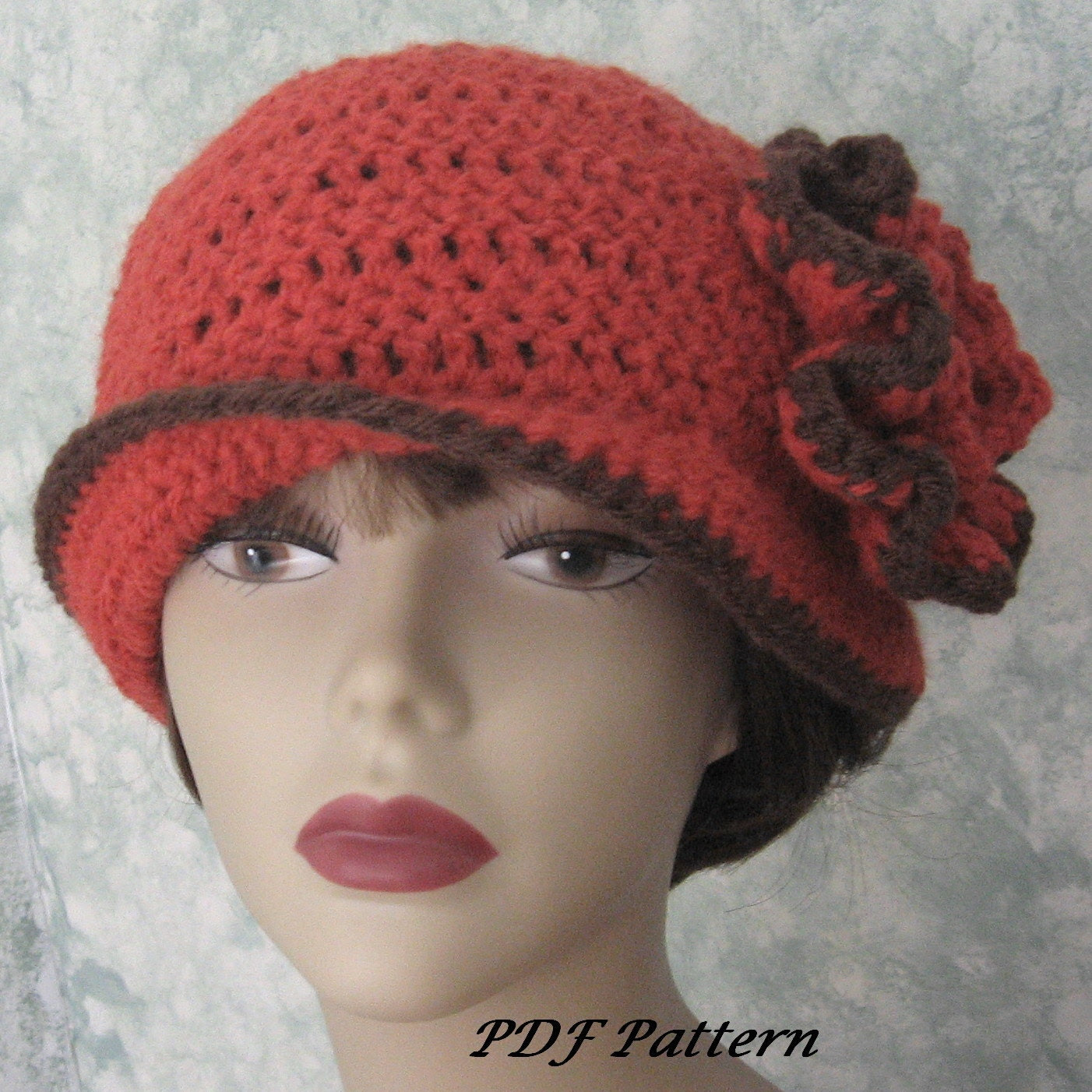 Womens Crochet Hat Pattern With Double Flower Trim PDF Easy To Make Resell finished
