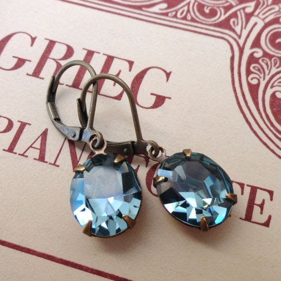 Indian Sapphire Slate Blue Earrings Vintage Swarovski by chouettes, $19.00