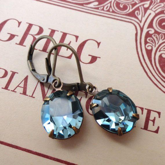 Indian Sapphire Slate Blue Earrings Vintage Swarovski by chouettes, $19.00