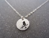 Necklace Medal Bird - Sterling Silver - LittleZozio