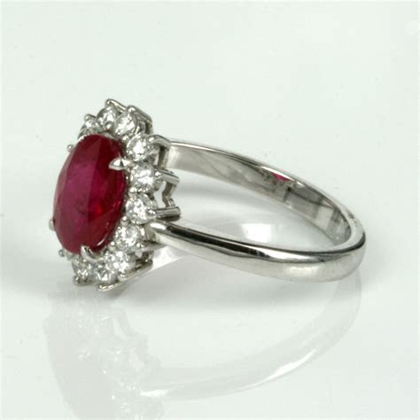 Buy Burmese ruby ring surrounded by 14 diamonds Modern
