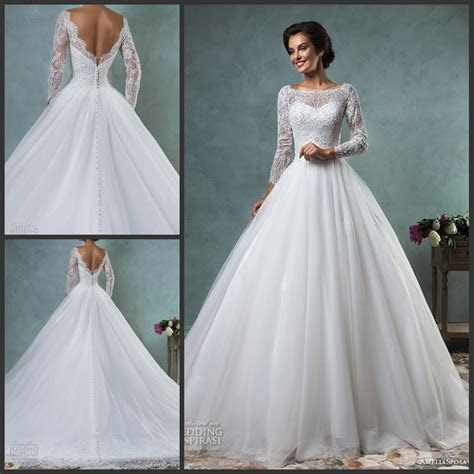 2017 Wedding Dresses Bateau Neckline Lace Long Sleeves