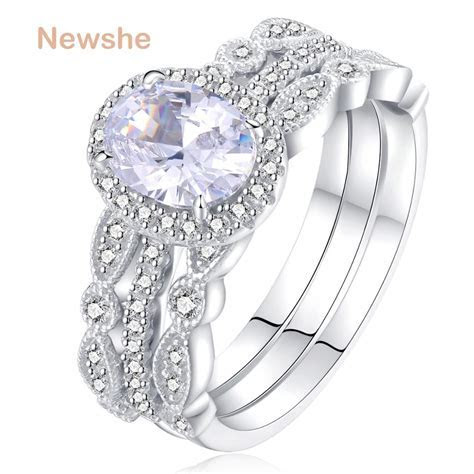 Newshe 1.8 Ct 3 Pcs Wedding Ring Set Solid 925 Sterling