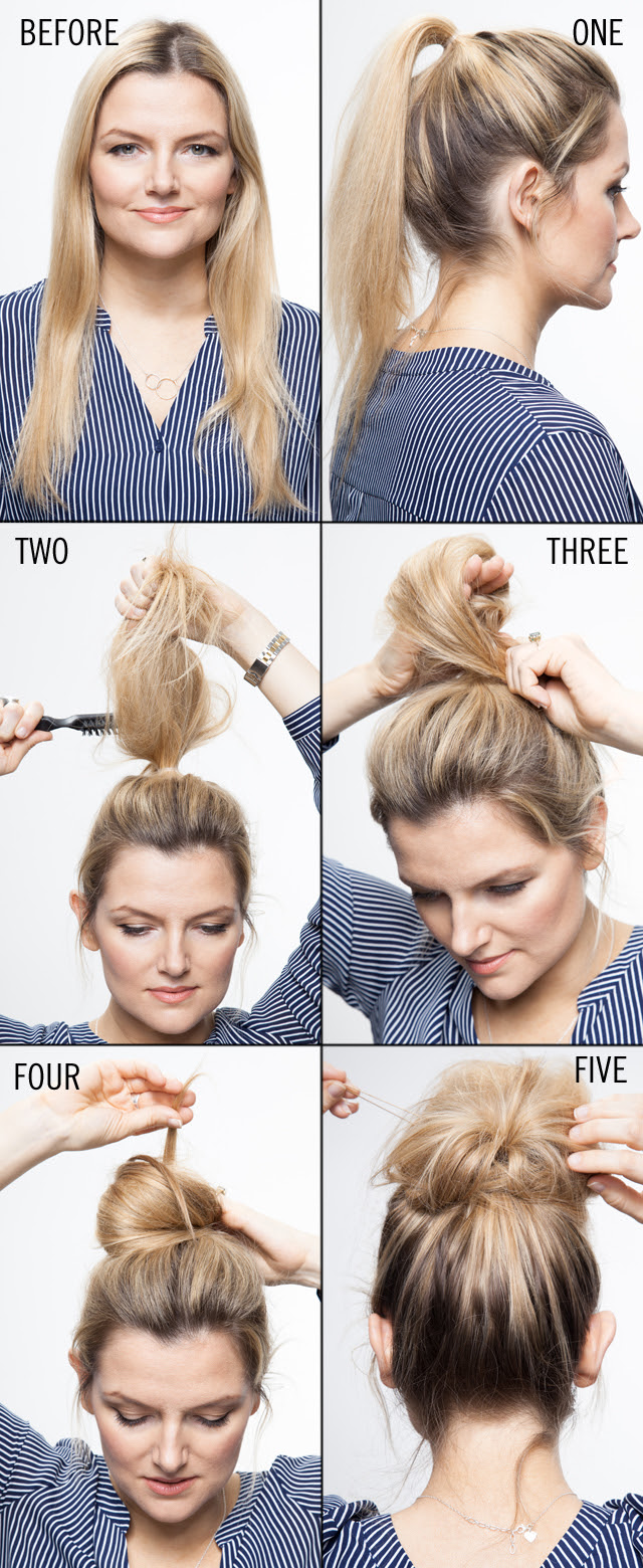 Easy Messy Bun Step By Step