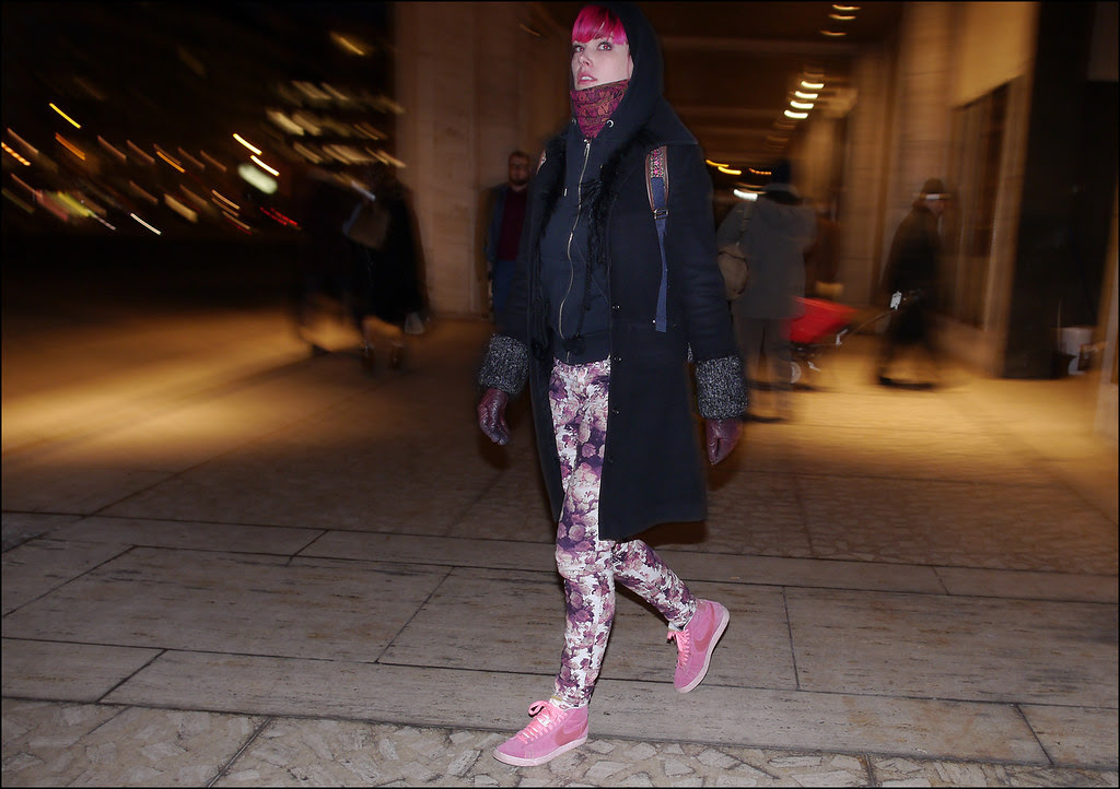 w bright pink hair blue coat pink floral pattern pants pink nikes ol