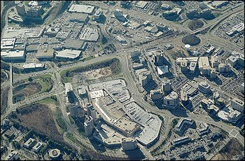An aerial view of Tysons Corner