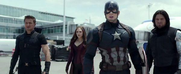 Hawkeye (Jeremy Renner), Scarlett Witch (Elizabeth Olsen) and Bucky (Sebastian Stan) join forces with Captain America in CAPTAIN AMERICA: CIVIL WAR.