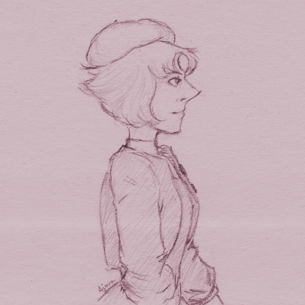 Real quick 3x3″ post-it note doodle. Pearl dressed as Anthy in the final Revolutionary Girl Utena episode, leaving the system behind. I know comparing Pearl to Utena is popular, but may I suggest the...