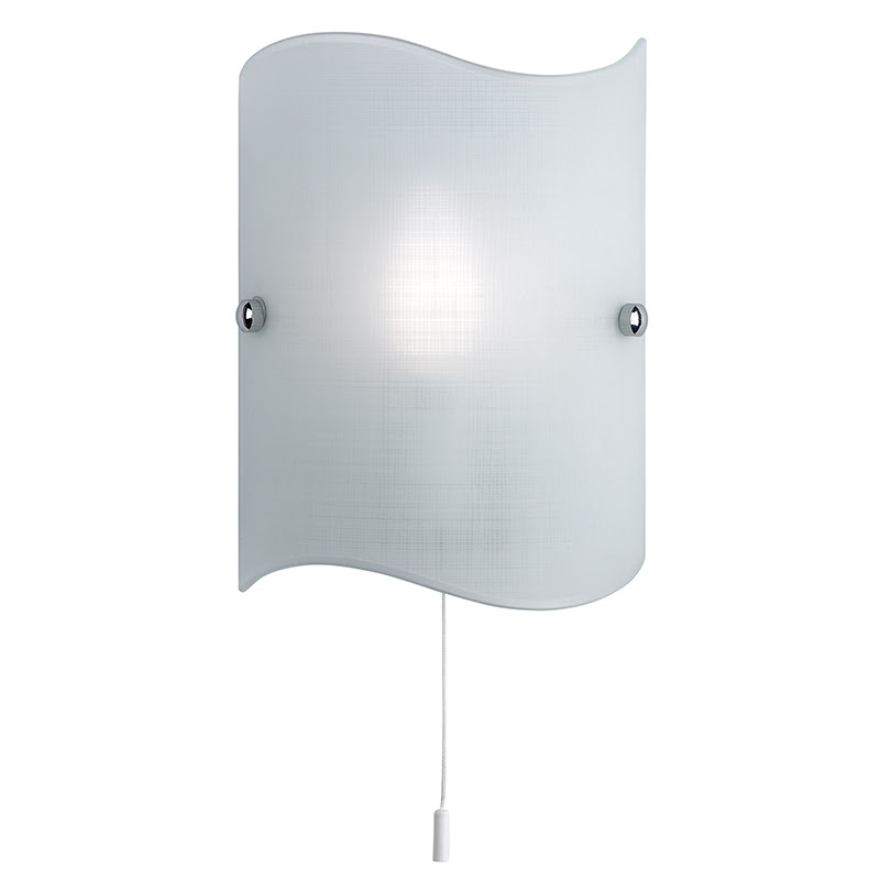Ip44 Wall Light With Round Opaque White Shade And Pull