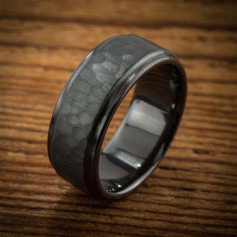 Men's Wedding Band Comfort Fit Interior Hammered Black