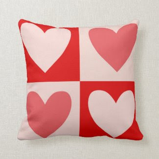 Hearts on a Throw Pillow