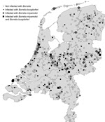 Thumbnail of Locations of ticks collected through the website http://www.tekenradar.nl in the Netherlands during summer 2012,. Ticks included in the study were submitted from all parts of the country; ticks positive for Borrelia miyamotoi and B. burgdorferi were found in almost every region.