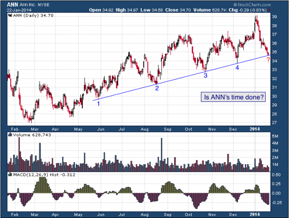 1-year chart of ANN (ANN, Inc.)