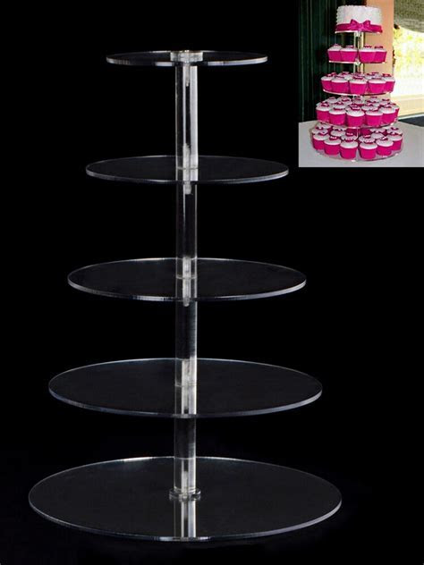 New Round Crystal Clear Acrylic Cupcake Stand Wedding