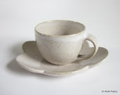 speckled white demitasse with cloud saucer - made to order - JDWolfePottery