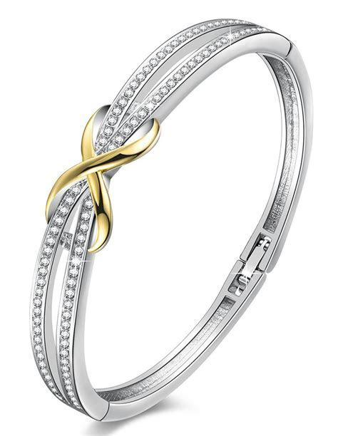 Angelady Women's White Gold Plated Swarovski Crystal