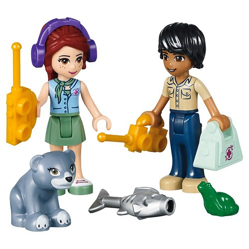 LEGO Friends Jungle Bridge Rescue #41036 Mia & Matthew with walkie-talkies, Bear Cub, fish, frog