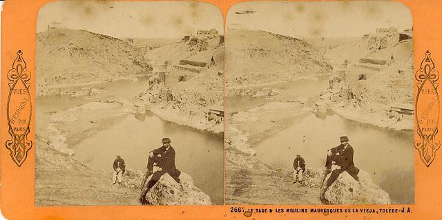 Molinos del Tajo. Fotografía estereoscópica de Jean Andrieu en 1868 con número de serie 2661