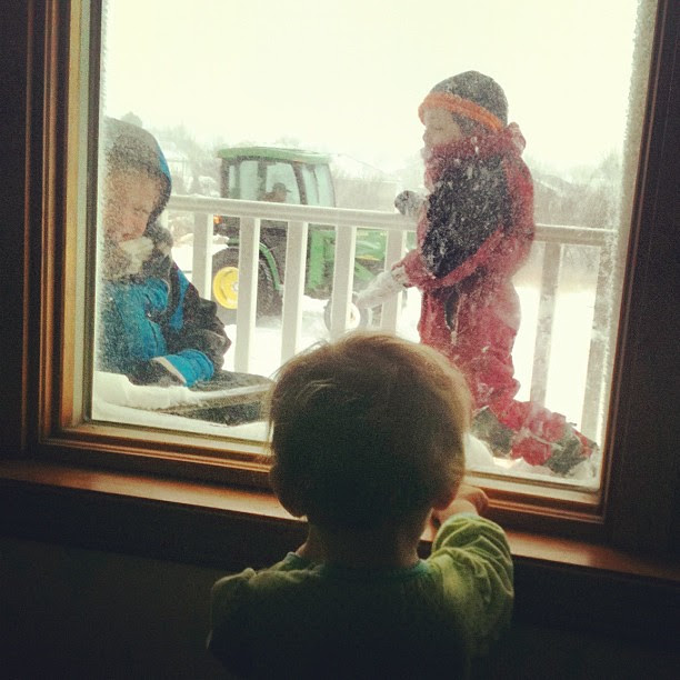 Feb 29. Baby, brothers, snow plow.