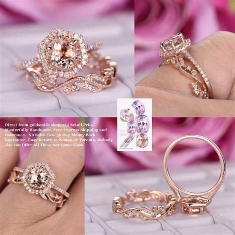 $799 Round Morganite Engagement Ring Sets Floral Wedding