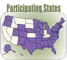 PRAMS Participating States in purple.