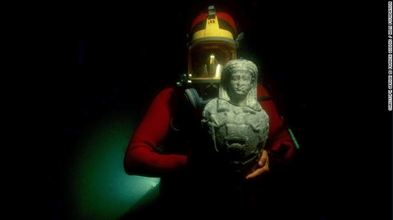 """The ancient Egyptian cities of Canopus and Thonis-Heracleion sat on the seabed of the Abukir Bay for over a thousand years before pioneering archeologist Franck Goddio began excavating in 199. Now his finds are part of an upcoming exhibition at the British Museum in London: <a href=""""http://www.britishmuseum.org/whats_on/exhibitions/sunken_cities.aspx"""" target=""""_blank"""">Sunken Cities: Egypt's Lost Worlds</a>."""