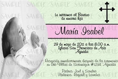 baptism invitations  spanish baptism invitation