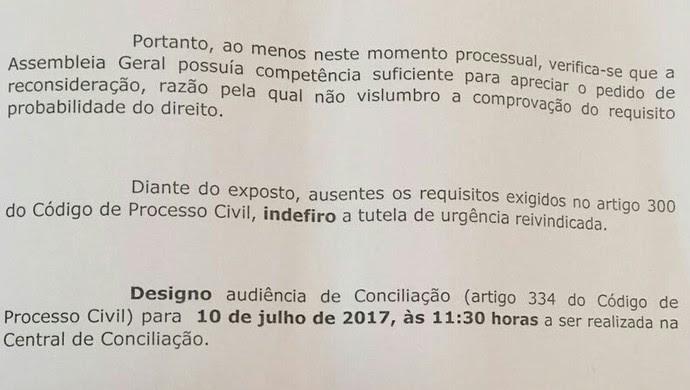 Decisão juíza presidência FMF (Foto: Divulgação)