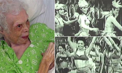 102 year old dancer Alice Barker sees herself on film for