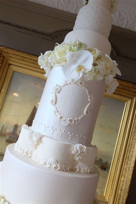 This 5 Foot Luxury wedding cake with custom cake monogram