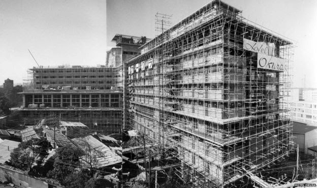 Picture of Hotel Okura under construction in the early 1960s