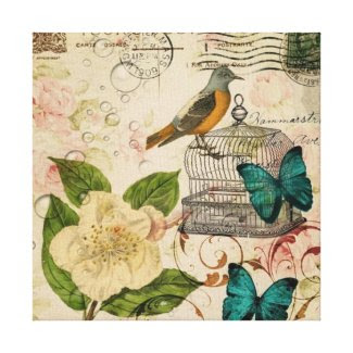 girly french botanical bird rose paris fashion gallery wrapped canvas