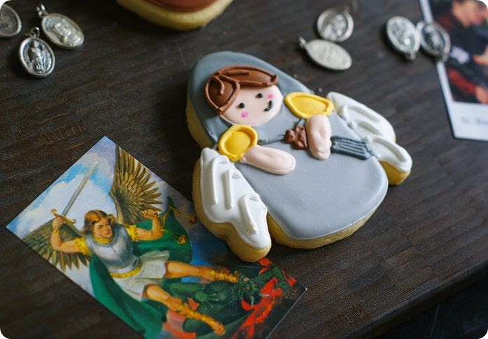 all saints day cookies, st. michael the archangel...post features 5 saint cookie designs