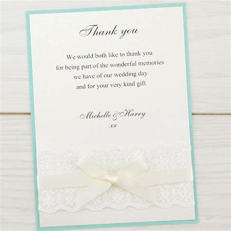 Embroidered Lace Thank you Card   Pure Invitation Wedding