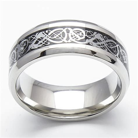 8mm Tungsten Carbide Silver Celtic Dragon Black Inlay Ring