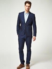 Asos Slim Fit Suit In Blue Herringbone