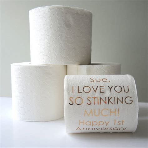 personalised 1st anniversary paper toilet roll by the