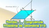 Problema de Geometría 919 (English ESL): Rombo, Triangulo, Perpendicular, Distancia, Congruencia