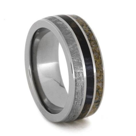 Wedding Band With Meteorite, Dinosaur Bone, And Petrified