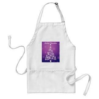 Purple and White Christmas Apron apron